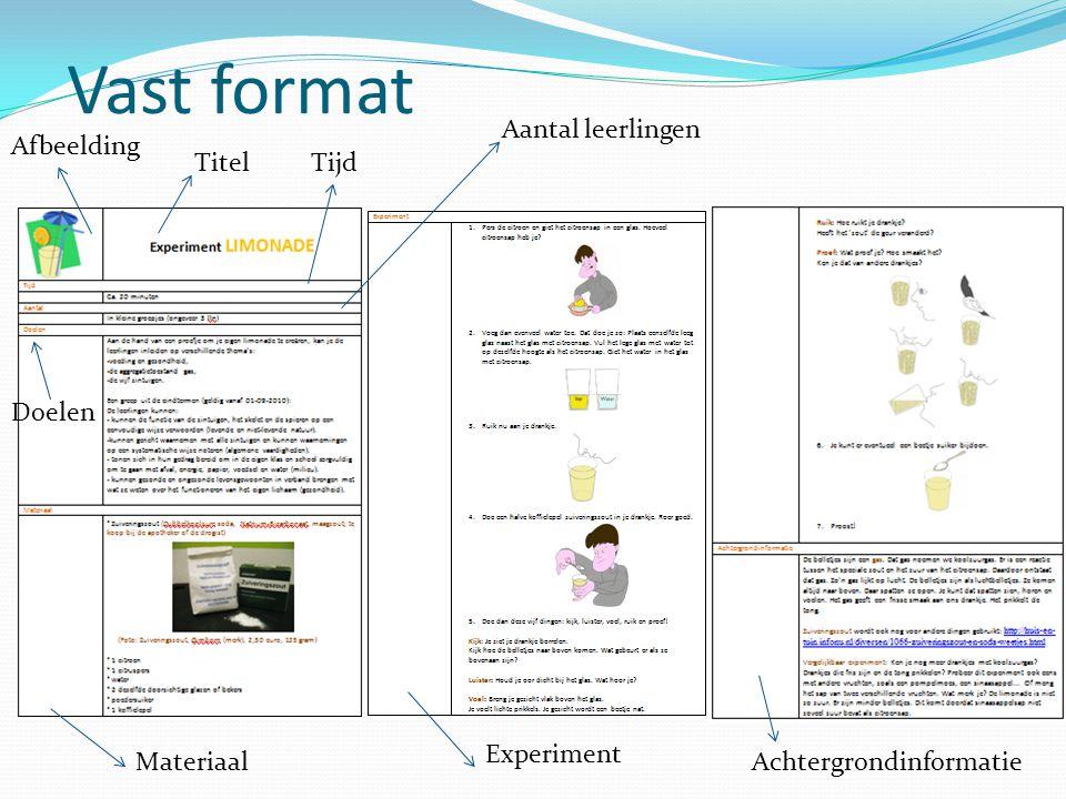 Vast format TitelTijd Aantal leerlingen Doelen Materiaal Experiment Achtergrondinformatie Afbeelding