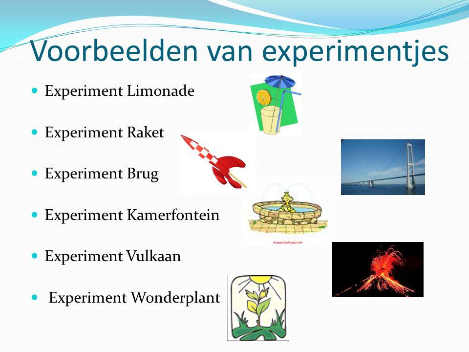 Voorbeelden van experimentjes Experiment Limonade Experiment Raket Experiment Brug Experiment Kamerfontein Experiment Vulkaan Experiment Wonderplant