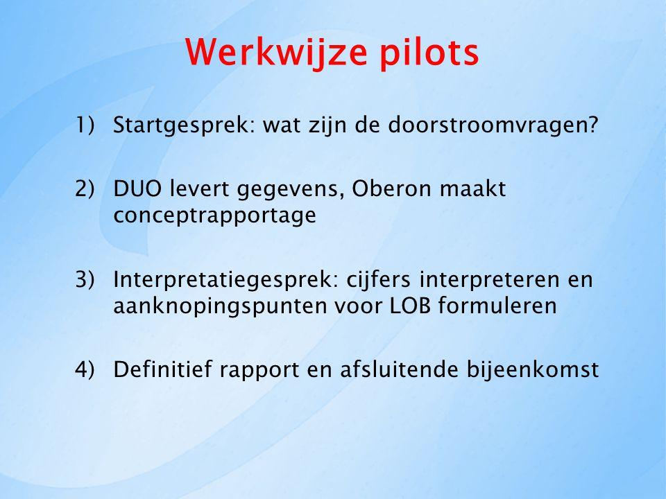 Werkwijze pilots 1)Startgesprek: wat zijn de doorstroomvragen.