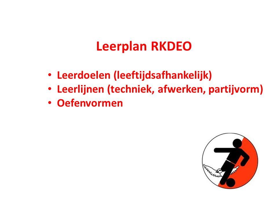 Leerplan RKDEO Leerdoelen (leeftijdsafhankelijk) Leerlijnen (techniek, afwerken, partijvorm) Oefenvormen