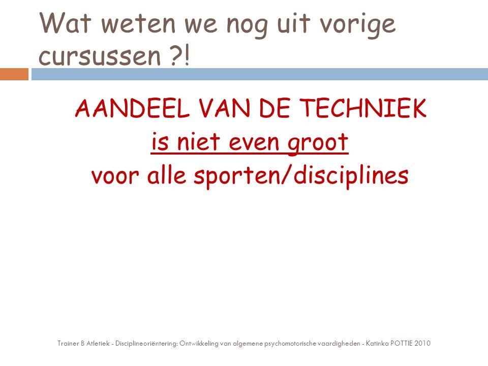 Wat weten we nog uit vorige cursussen ?! AANDEEL VAN DE TECHNIEK is niet even groot voor alle sporten/disciplines Trainer B Atletiek - Disciplineoriën