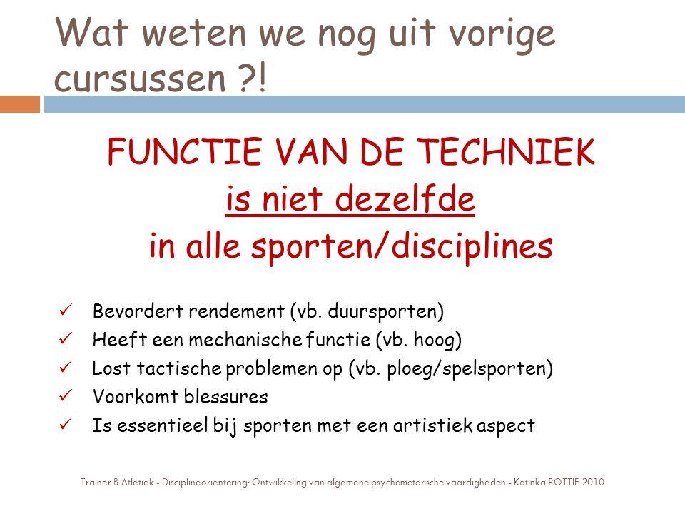 Wat weten we nog uit vorige cursussen ?! FUNCTIE VAN DE TECHNIEK is niet dezelfde in alle sporten/disciplines Bevordert rendement (vb. duursporten) He