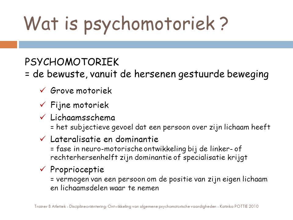 Wat is psychomotoriek ? PSYCHOMOTORIEK = de bewuste, vanuit de hersenen gestuurde beweging Grove motoriek Fijne motoriek Lichaamsschema = het subjecti