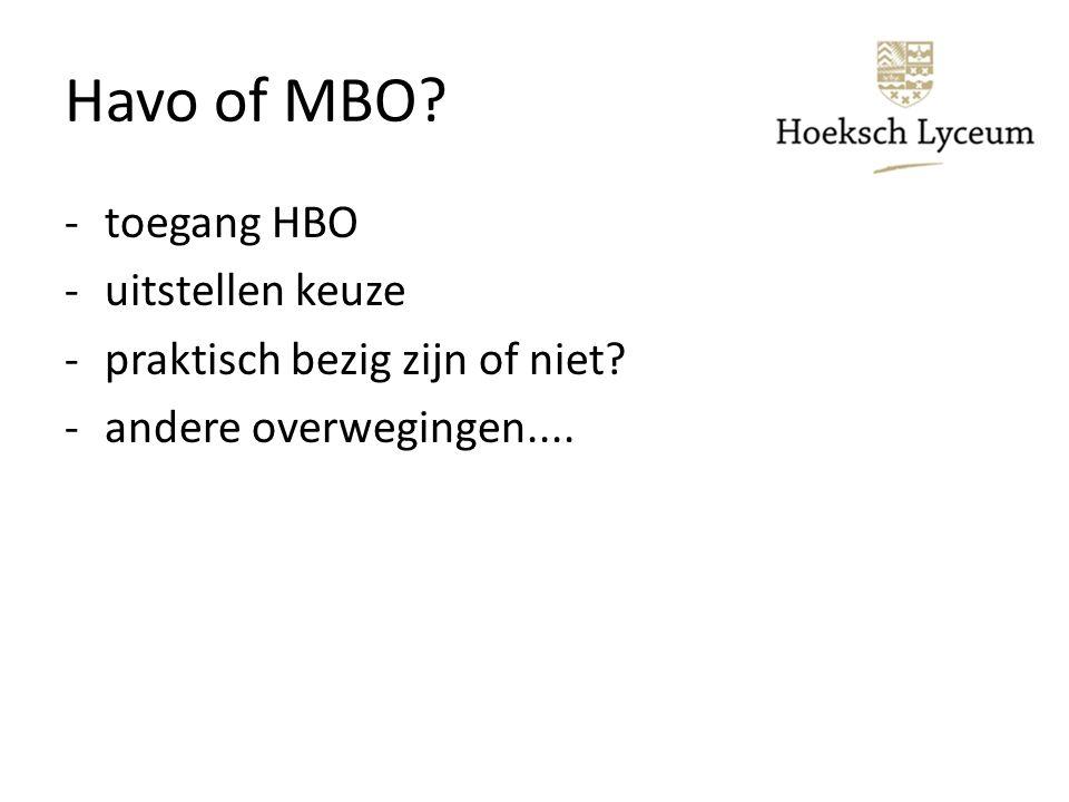 Havo of MBO -toegang HBO -uitstellen keuze -praktisch bezig zijn of niet -andere overwegingen....