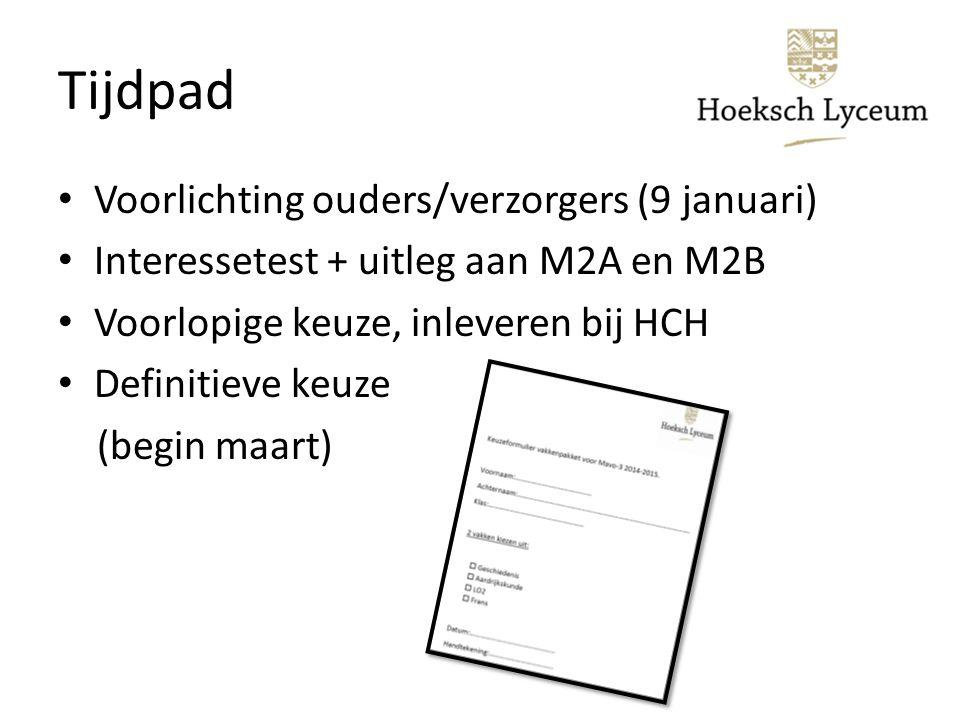 Tijdpad Voorlichting ouders/verzorgers (9 januari) Interessetest + uitleg aan M2A en M2B Voorlopige keuze, inleveren bij HCH Definitieve keuze (begin maart)