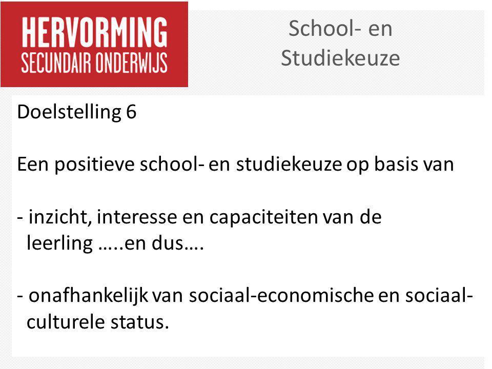 School- en Studiekeuze Doelstelling 6 Een positieve school- en studiekeuze op basis van - inzicht, interesse en capaciteiten van de leerling …..en dus
