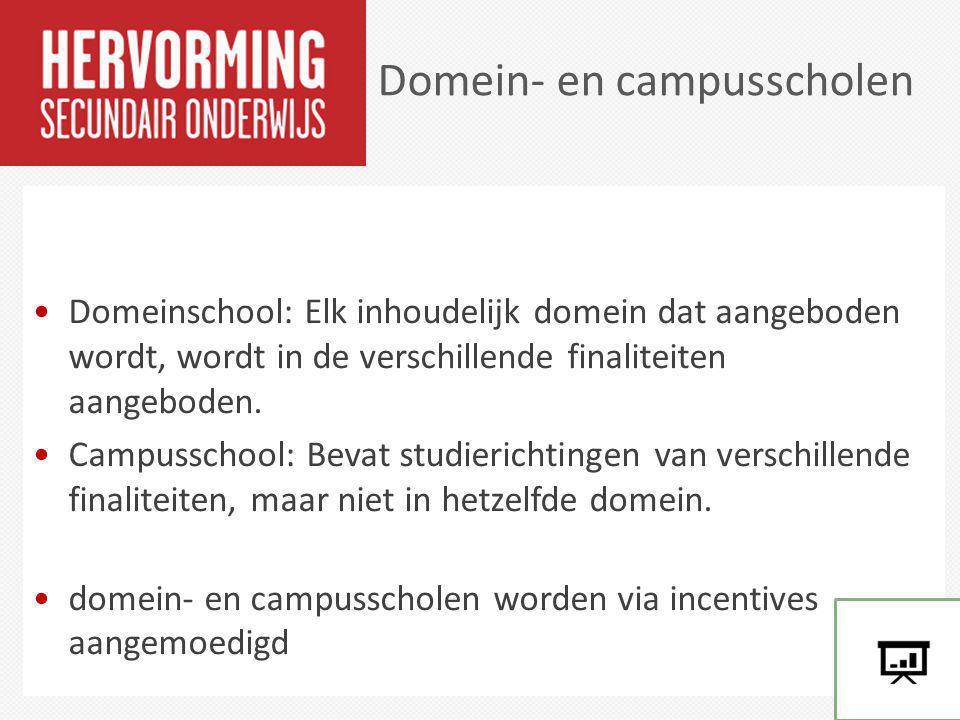 Domeinschool: Elk inhoudelijk domein dat aangeboden wordt, wordt in de verschillende finaliteiten aangeboden. Campusschool: Bevat studierichtingen van