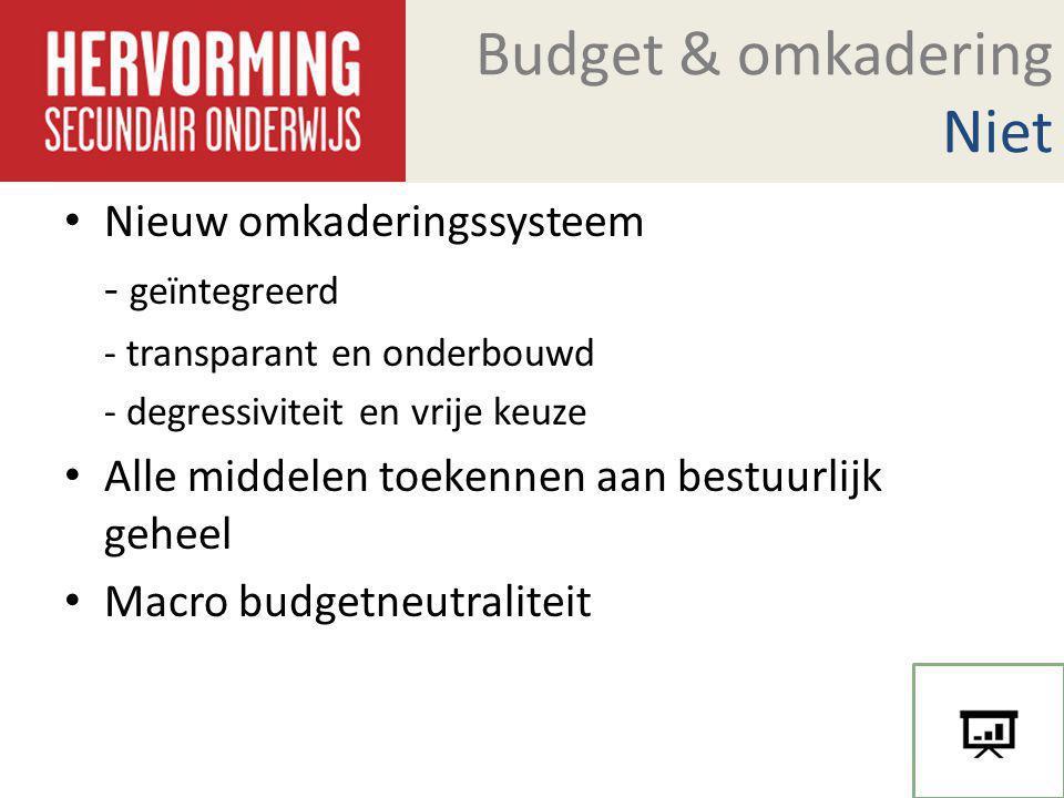 Budget & omkadering Niet Nieuw omkaderingssysteem - geïntegreerd - transparant en onderbouwd - degressiviteit en vrije keuze Alle middelen toekennen a