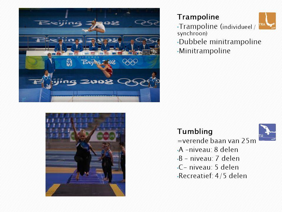 Trampoline Trampoline ( individueel / synchroon) Dubbele minitrampoline Minitrampoline Tumbling =verende baan van 25m A –niveau: 8 delen B – niveau: 7 delen C- niveau: 5 delen Recreatief: 4/5 delen
