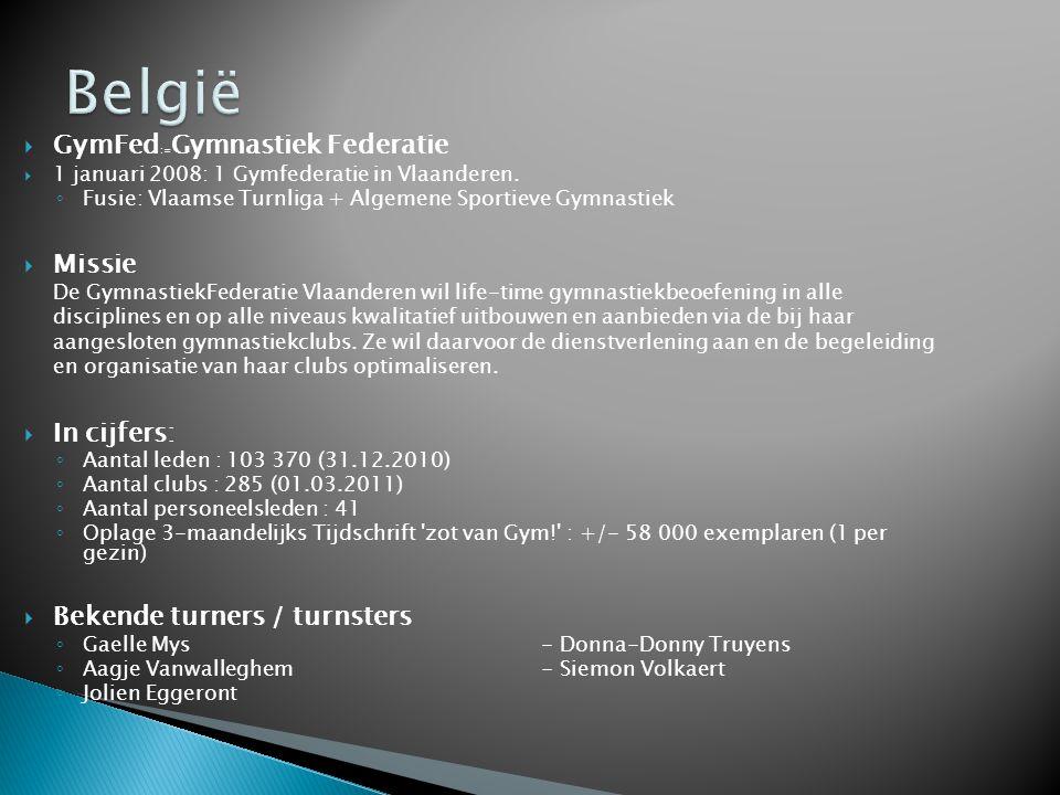  GymFed := Gymnastiek Federatie  1 januari 2008: 1 Gymfederatie in Vlaanderen. ◦ Fusie: Vlaamse Turnliga + Algemene Sportieve Gymnastiek  Missie De