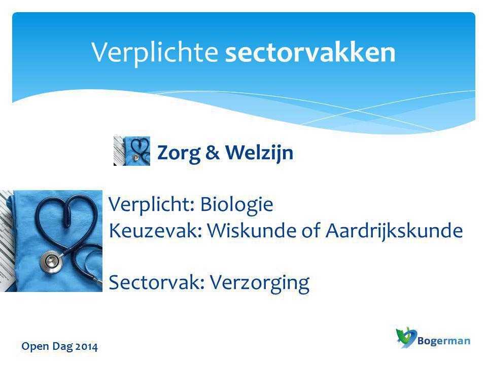 Open Dag 2014 Verplichte sectorvakken Zorg & Welzijn Verplicht: Biologie Keuzevak: Wiskunde of Aardrijkskunde Sectorvak: Verzorging