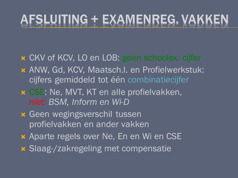 CKV of KCV, LO en LOB: geen schoolex. cijfer  ANW, Gd, KCV, Maatsch.l. en Profielwerkstuk: cijfers gemiddeld tot één combinatiecijfer  CSE: Ne, MV