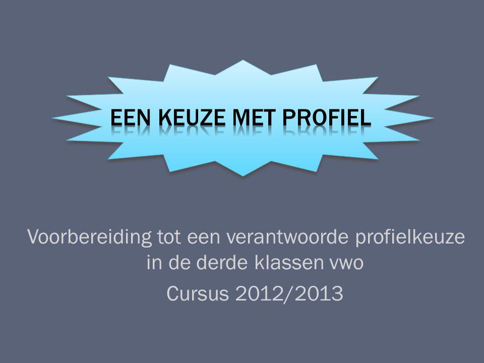 Voorbereiding tot een verantwoorde profielkeuze in de derde klassen vwo Cursus 2012/2013