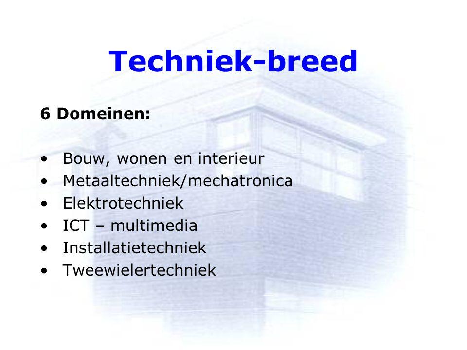 Techniek-breed 6 Domeinen: Bouw, wonen en interieur Metaaltechniek/mechatronica Elektrotechniek ICT – multimedia Installatietechniek Tweewielertechniek