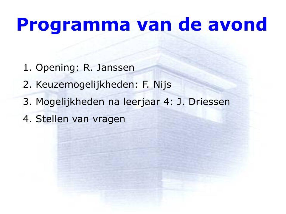 Programma van de avond 1. Opening: R. Janssen 2. Keuzemogelijkheden: F. Nijs 3. Mogelijkheden na leerjaar 4: J. Driessen 4. Stellen van vragen