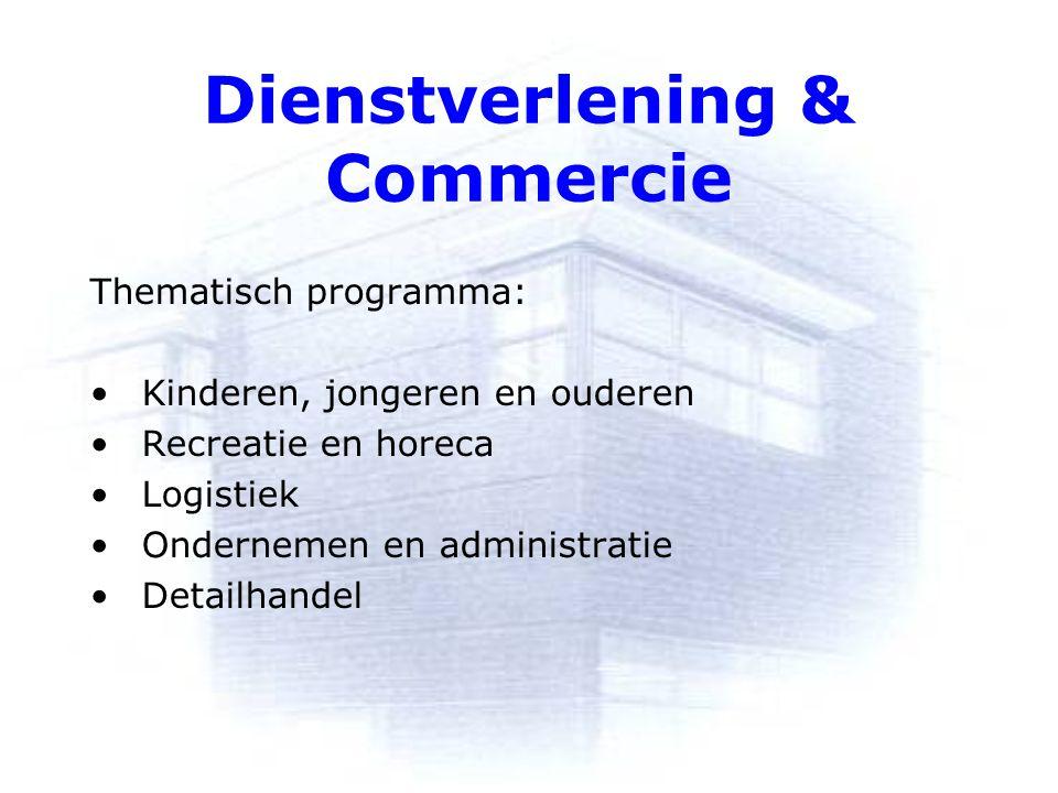 Dienstverlening & Commercie Thematisch programma: Kinderen, jongeren en ouderen Recreatie en horeca Logistiek Ondernemen en administratie Detailhandel