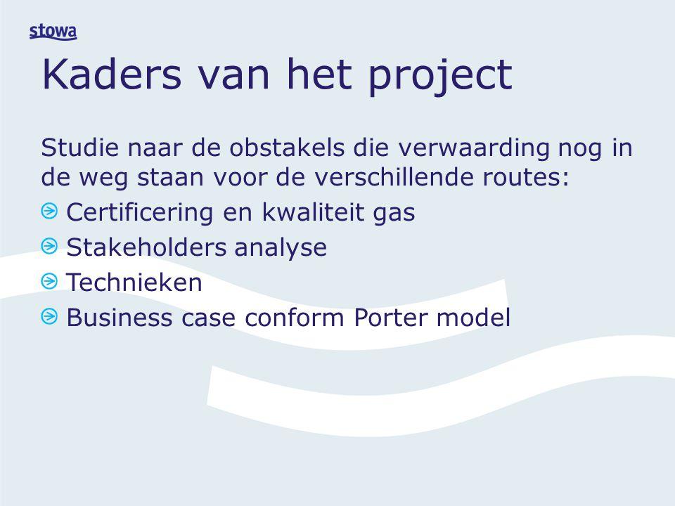 Kaders van het project Studie naar de obstakels die verwaarding nog in de weg staan voor de verschillende routes: Certificering en kwaliteit gas Stakeholders analyse Technieken Business case conform Porter model