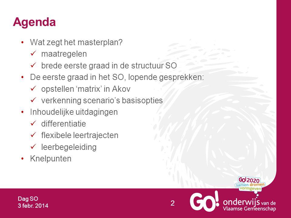 Dag SO 3 febr. 2014 2 Agenda Wat zegt het masterplan.