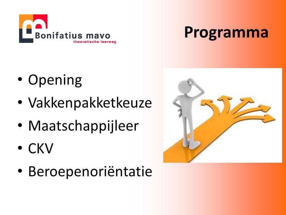 Opening Vakkenpakketkeuze Maatschappijleer CKV Beroepenoriëntatie Programma