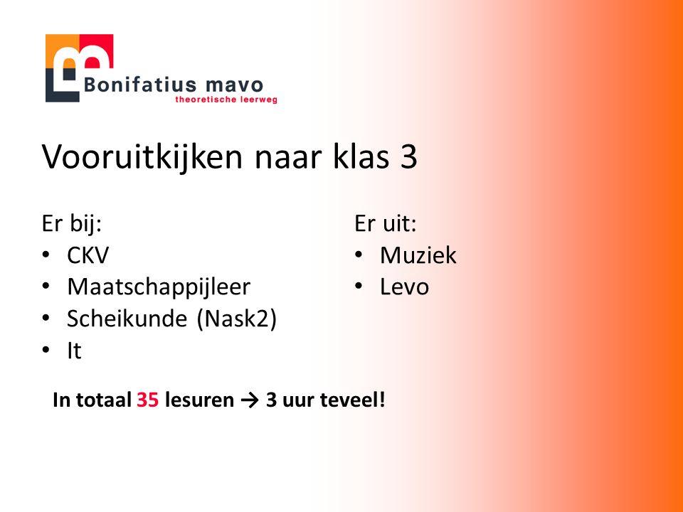 Vooruitkijken naar klas 3 Er bij: CKV Maatschappijleer Scheikunde (Nask2) It In totaal 35 lesuren → 3 uur teveel.