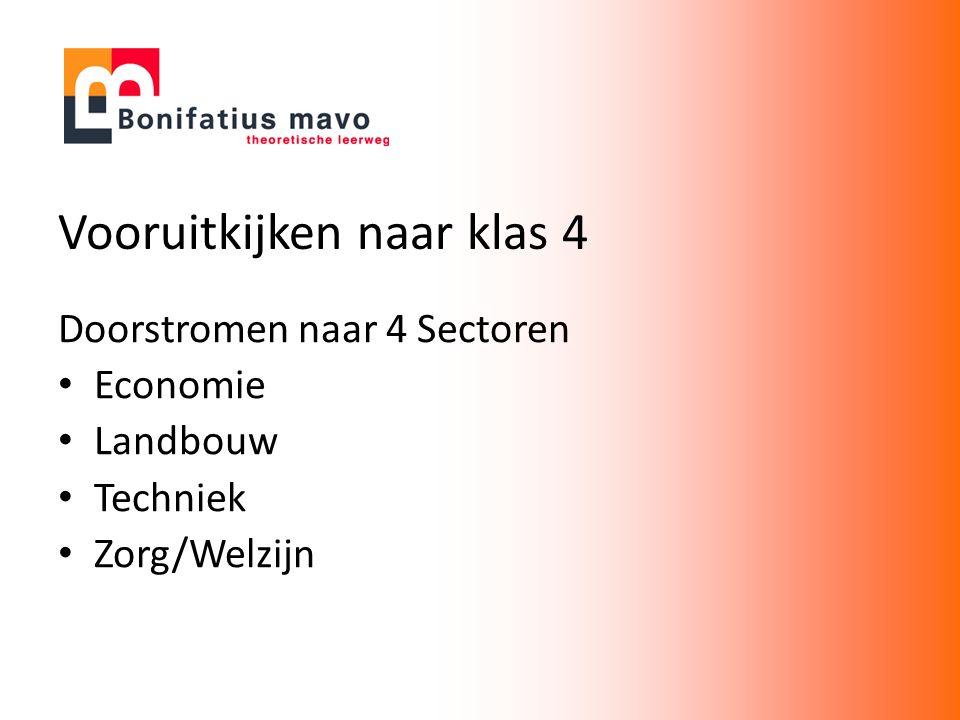 Vooruitkijken naar klas 4 Doorstromen naar 4 Sectoren Economie Landbouw Techniek Zorg/Welzijn