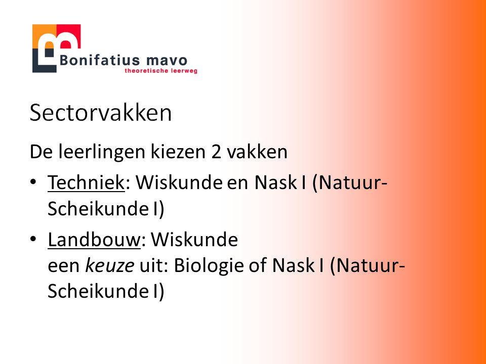 De leerlingen kiezen 2 vakken Techniek: Wiskunde en Nask I (Natuur- Scheikunde I) Landbouw: Wiskunde een keuze uit: Biologie of Nask I (Natuur- Scheik