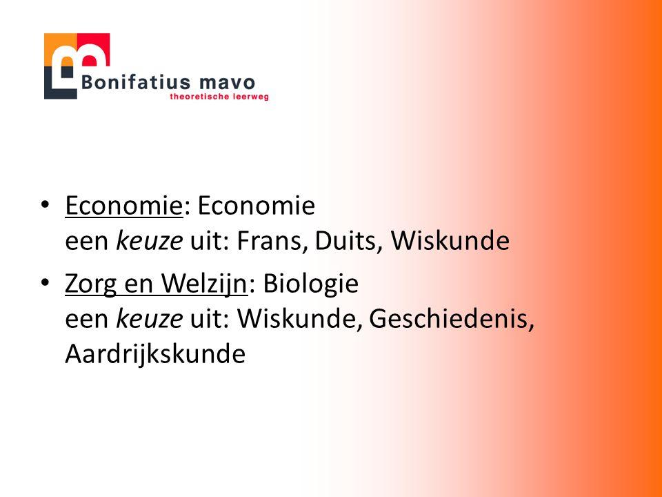 Economie: Economie een keuze uit: Frans, Duits, Wiskunde Zorg en Welzijn: Biologie een keuze uit: Wiskunde, Geschiedenis, Aardrijkskunde