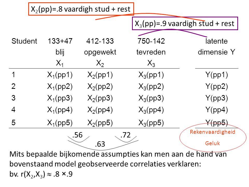 Student133+47 blij X 1 412-133 opgewekt X 2 750-142 tevreden X 3 latente dimensie Y 1X 1 (pp1)X 2 (pp1)X 3 (pp1)Y(pp1) 2X 1 (pp2)X 2 (pp2)X 3 (pp2)Y(p