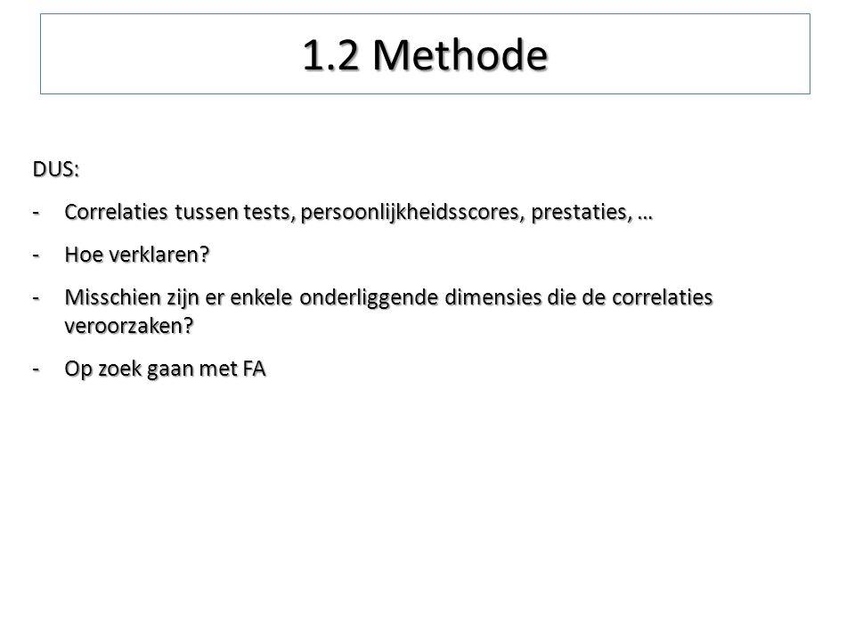 DUS: -Correlaties tussen tests, persoonlijkheidsscores, prestaties, … -Hoe verklaren? -Misschien zijn er enkele onderliggende dimensies die de correla