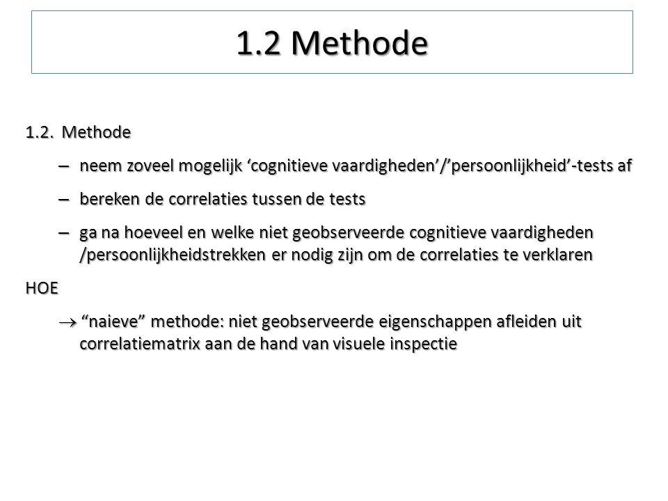 1.2. Methode – neem zoveel mogelijk 'cognitieve vaardigheden'/'persoonlijkheid'-tests af – bereken de correlaties tussen de tests – ga na hoeveel en w