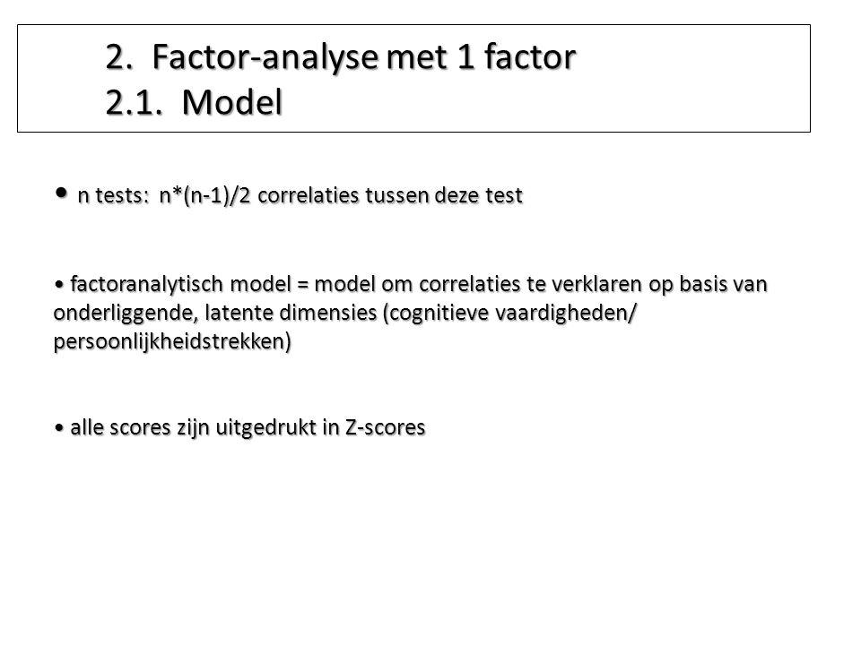n tests: n*(n-1)/2 correlaties tussen deze test n tests: n*(n-1)/2 correlaties tussen deze test factoranalytisch model = model om correlaties te verkl