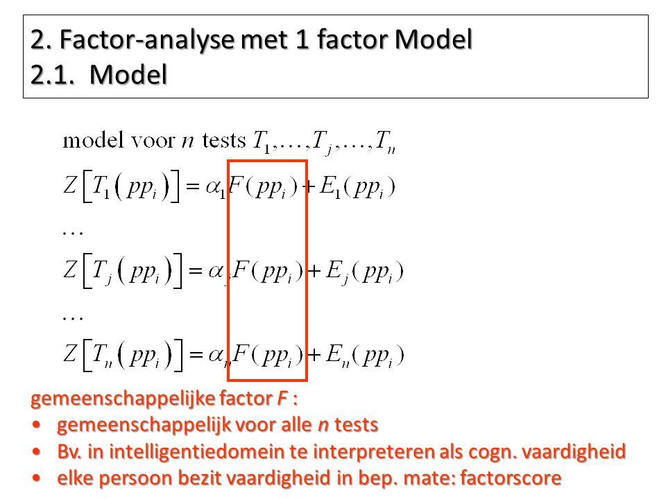 2. Factor-analyse met 1 factor Model 2.1. Model gemeenschappelijke factor F : gemeenschappelijk voor alle n testsgemeenschappelijk voor alle n tests B