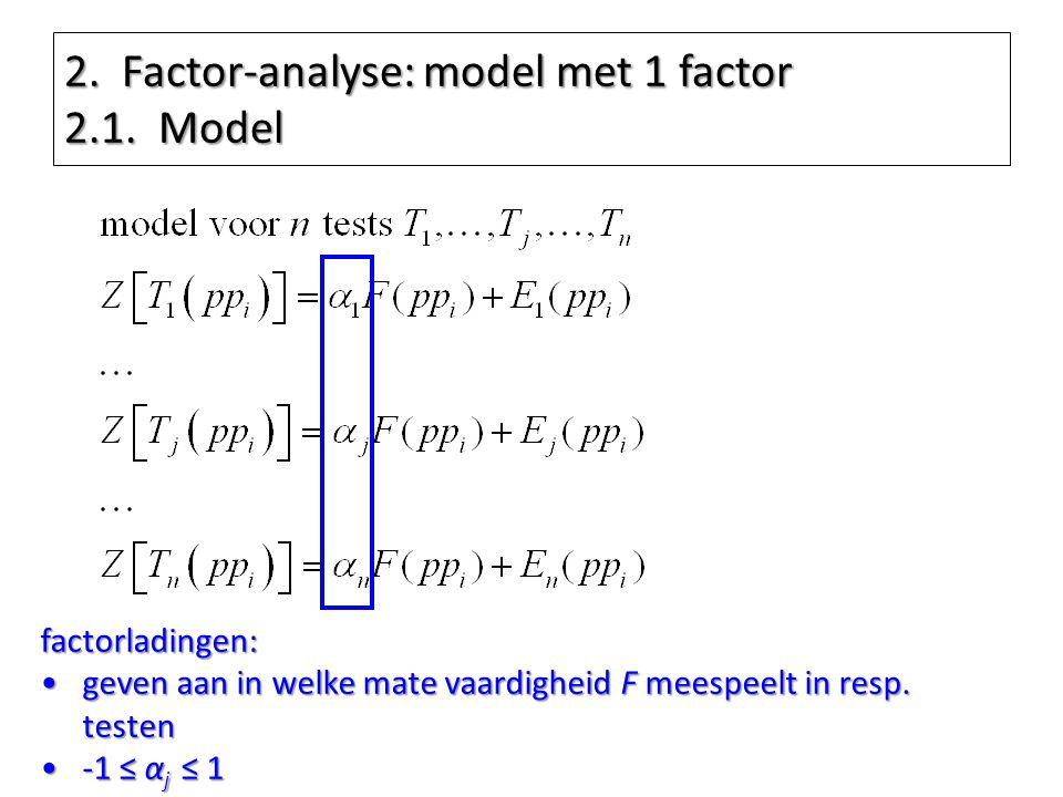 2. Factor-analyse: model met 1 factor 2.1. Model factorladingen: geven aan in welke mate vaardigheid F meespeelt in resp. testengeven aan in welke mat