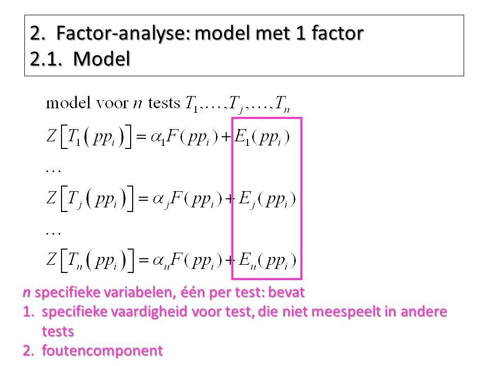 2. Factor-analyse: model met 1 factor 2.1. Model n specifieke variabelen, één per test: bevat 1.specifieke vaardigheid voor test, die niet meespeelt i