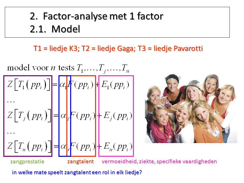 2. Factor-analyse met 1 factor 2.1. Model T1 = liedje K3; T2 = liedje Gaga; T3 = liedje Pavarotti zangtalent in welke mate speelt zangtalent een rol i