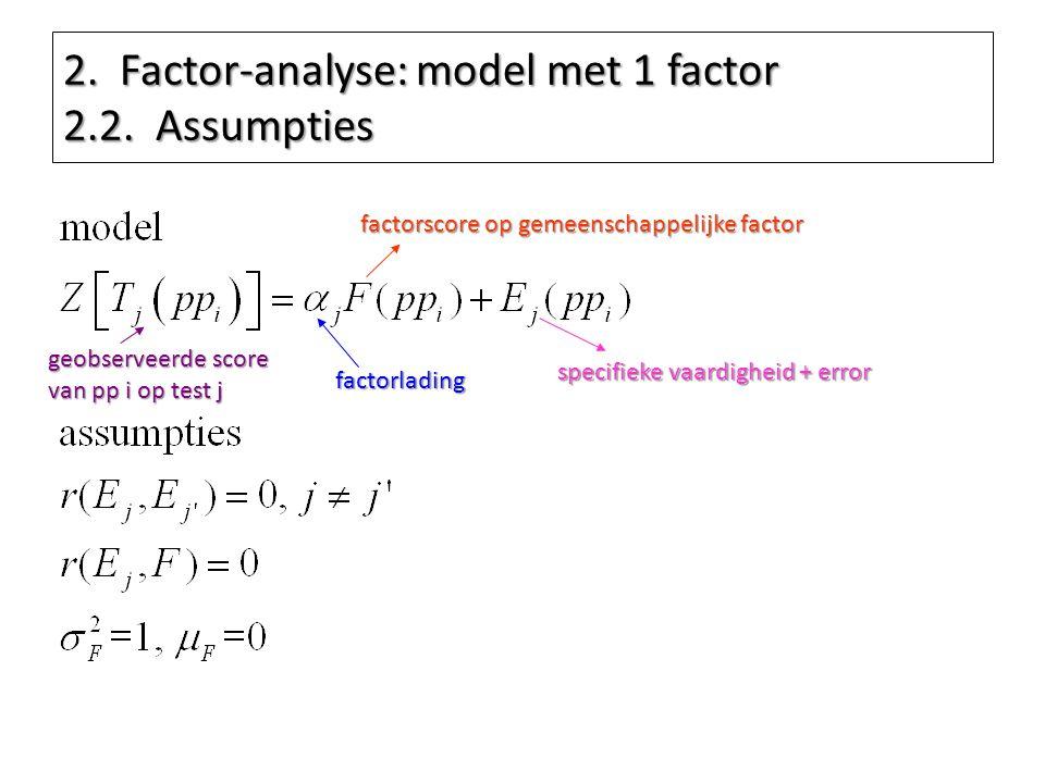 2. Factor-analyse: model met 1 factor 2.2. Assumpties factorscore op gemeenschappelijke factor factorlading specifieke vaardigheid + error geobserveer