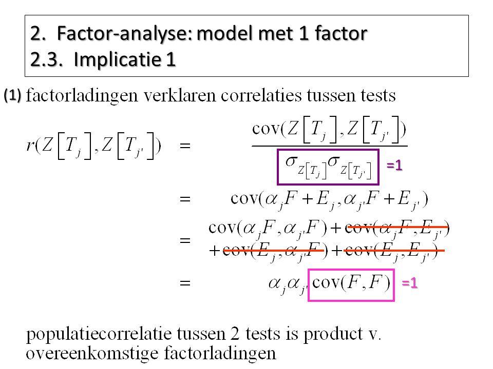 2. Factor-analyse: model met 1 factor 2.3. Implicatie 1 =1 =1(1)
