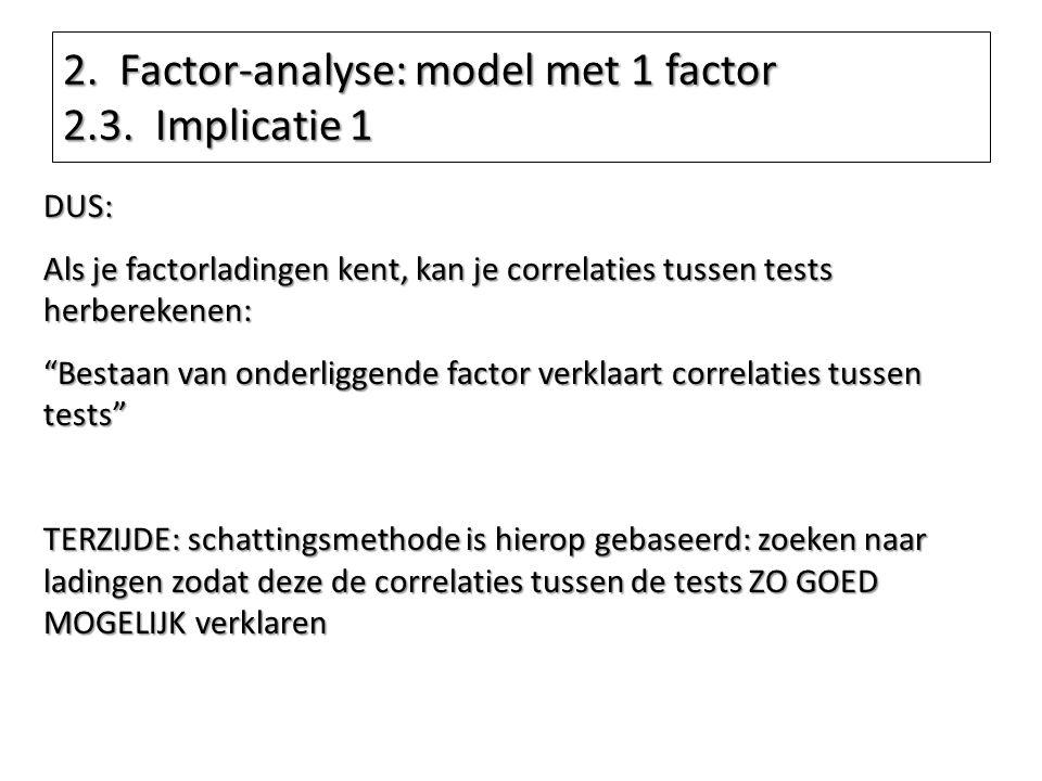 """DUS: Als je factorladingen kent, kan je correlaties tussen tests herberekenen: """"Bestaan van onderliggende factor verklaart correlaties tussen tests"""" T"""