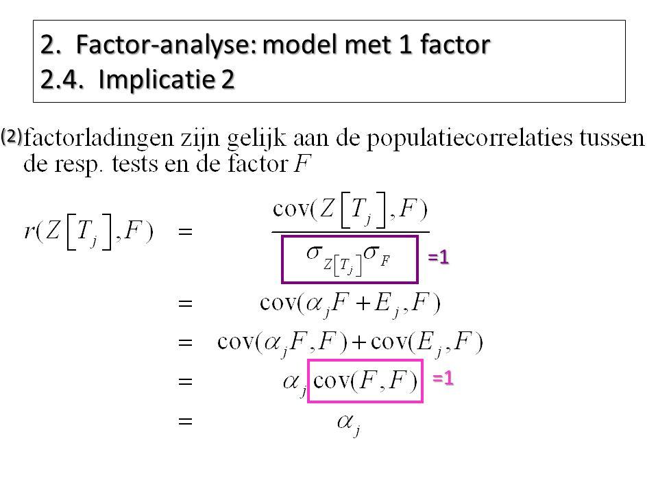 2. Factor-analyse: model met 1 factor 2.4. Implicatie 2 =1 =1(2)