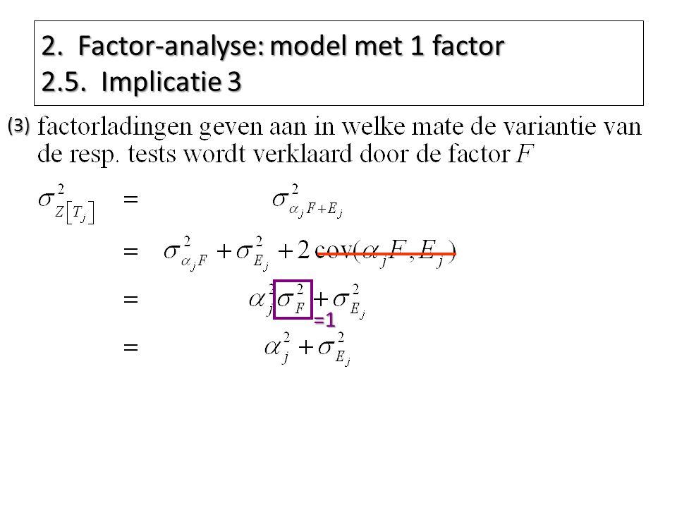 2. Factor-analyse: model met 1 factor 2.5. Implicatie 3 =1 (3)