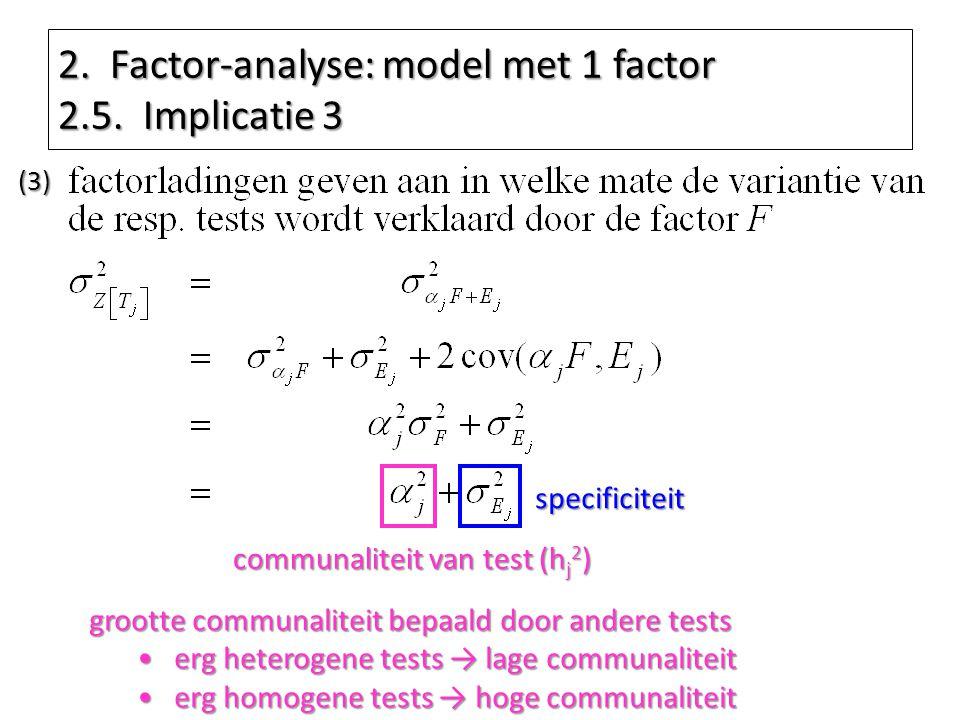 communaliteit van test (h j 2 ) grootte communaliteit bepaald door andere tests erg heterogene tests → lage communaliteiterg heterogene tests → lage c