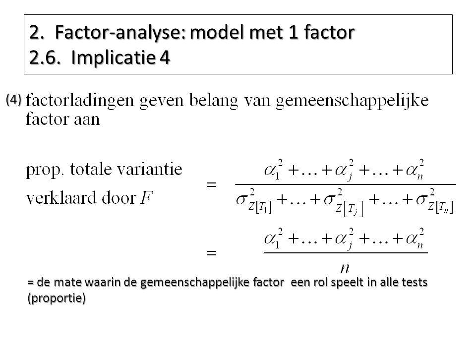 2. Factor-analyse: model met 1 factor 2.6. Implicatie 4 (4) = de mate waarin de gemeenschappelijke factor een rol speelt in alle tests (proportie)