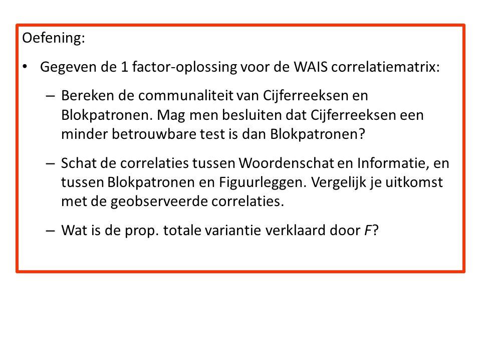 Oefening: Gegeven de 1 factor-oplossing voor de WAIS correlatiematrix: – Bereken de communaliteit van Cijferreeksen en Blokpatronen. Mag men besluiten