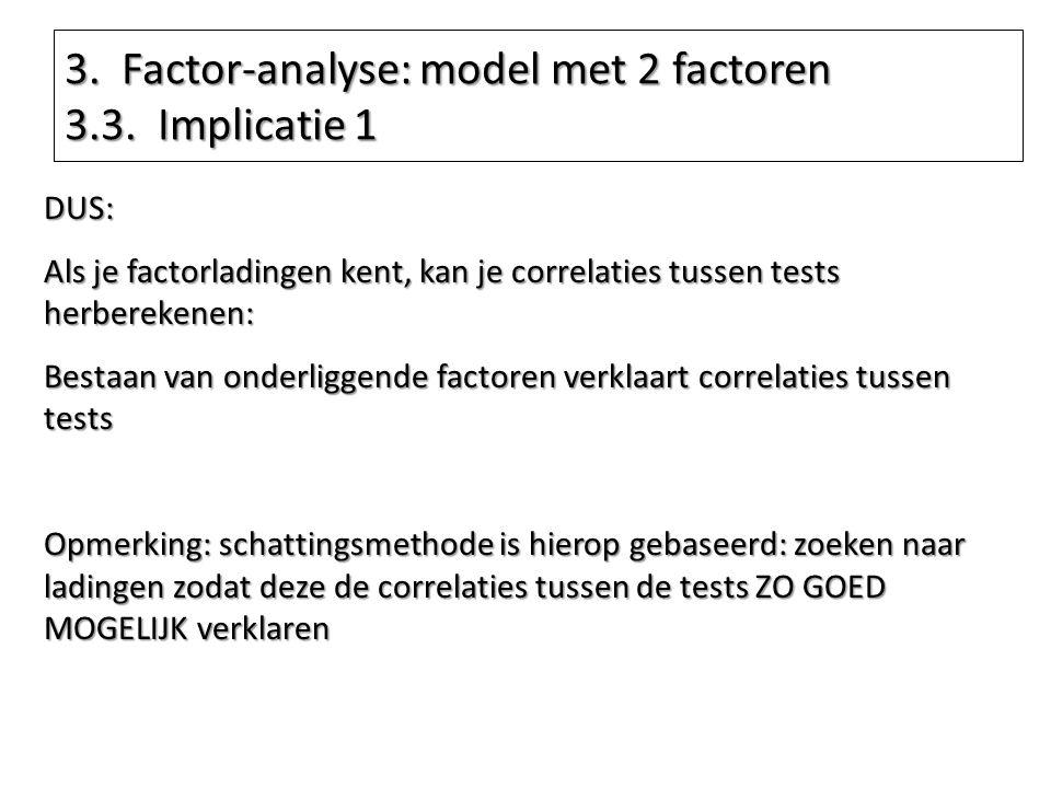 DUS: Als je factorladingen kent, kan je correlaties tussen tests herberekenen: Bestaan van onderliggende factoren verklaart correlaties tussen tests O