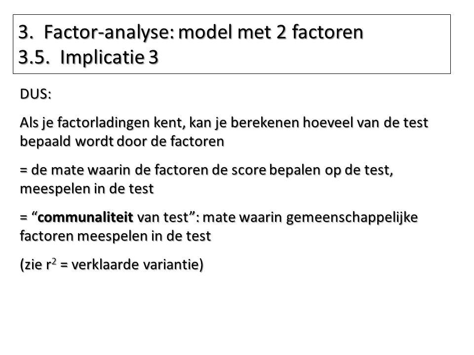 3. Factor-analyse: model met 2 factoren 3.5. Implicatie 3 DUS: Als je factorladingen kent, kan je berekenen hoeveel van de test bepaald wordt door de