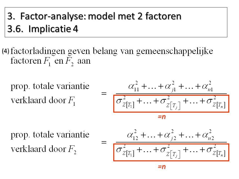 3. Factor-analyse: model met 2 factoren 3.6. Implicatie 4 =n (4) =n