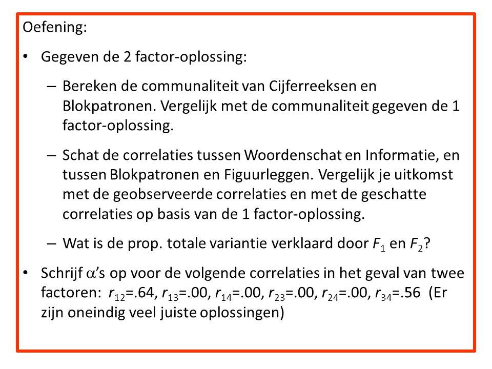 Oefening: Gegeven de 2 factor-oplossing: – Bereken de communaliteit van Cijferreeksen en Blokpatronen. Vergelijk met de communaliteit gegeven de 1 fac