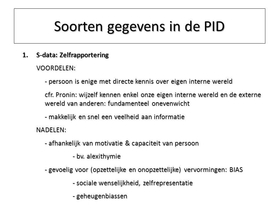 Soorten gegevens in de PID 1.S-data: Zelfrapportering VOORDELEN: - persoon is enige met directe kennis over eigen interne wereld cfr. Pronin: wijzelf