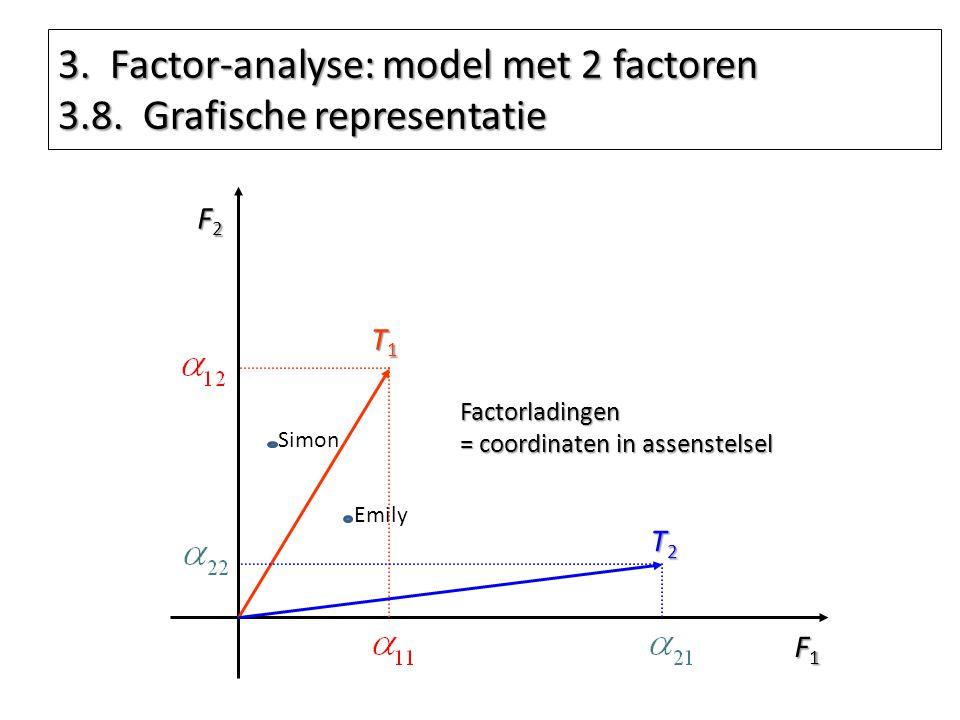 3. Factor-analyse: model met 2 factoren 3.8. Grafische representatie F1F1F1F1 F2F2F2F2 T1T1T1T1 T2T2T2T2 Factorladingen = coordinaten in assenstelsel