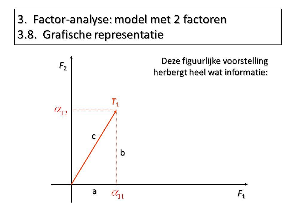 3. Factor-analyse: model met 2 factoren 3.8. Grafische representatie F1F1F1F1 F2F2F2F2 T1T1T1T1 Deze figuurlijke voorstelling herbergt heel wat inform